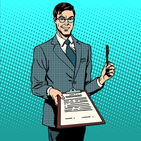 Podpis podpisu smlouvy k dokumentu. Podnikatelský záměr dohoda smlouva zabývat. Retro styl pop art Ilustrace