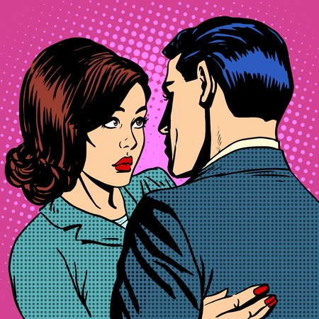 retro man: Couple in love hugging pop art retro style