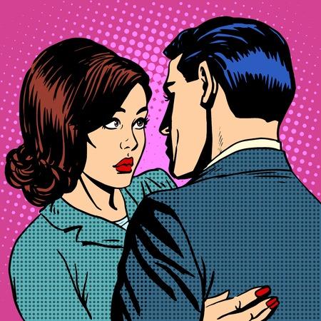 ojos caricatura: Pareja en el amor que abraza el arte pop estilo retro