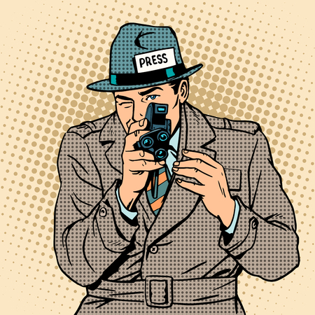 Journalist takes on retro camera. Paparazzi snooping tabloid press pop art