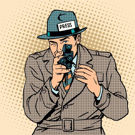 Journalist takes on retro camera. Paparazzi snooping tabloid press pop art