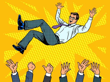 Triumph obchodní úspěch podnikatel vítěz pop art retro stylu Ilustrace