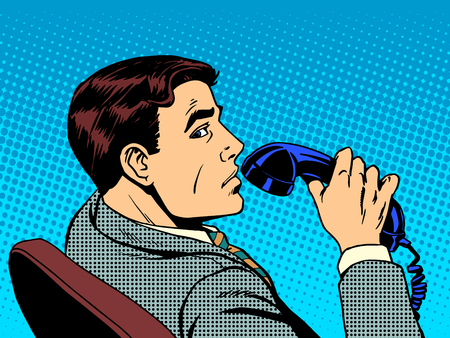 retros: Hombre de negocios con el teléfono del arte pop del estilo retro
