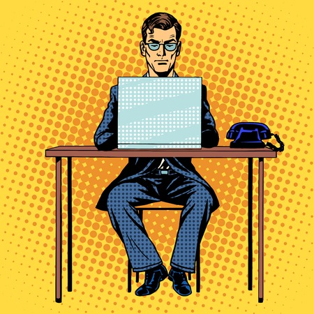 Businessman works behind laptop retro style pop art Vectores