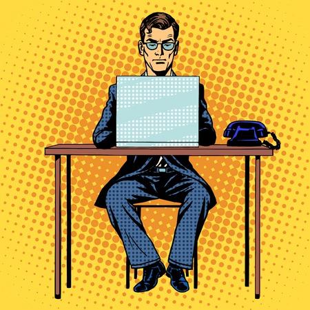 purchase book: Businessman works behind laptop retro style pop art Illustration