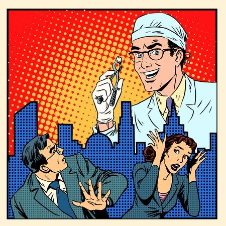 Angst voor tandheelkunde medische concept pop-art retro-stijl