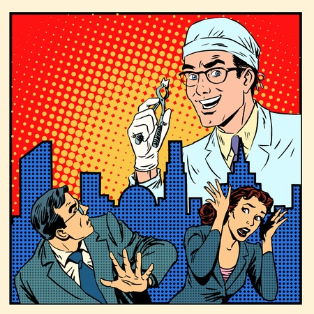 dentist cartoon: Fear of dentistry medical concept pop art retro style Illustration