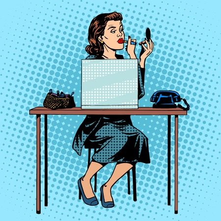 business woman laptop: Businesswoman putting on lipstick in the office for work space. Beauty and makeup pop art retro style Illustration