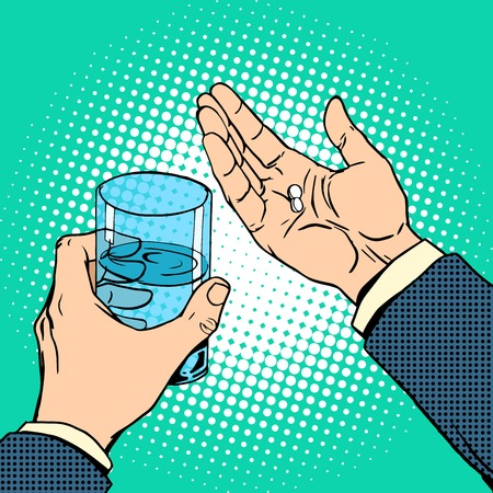 retro art: Medication health pills in hand. A glass of water. Pop art retro style