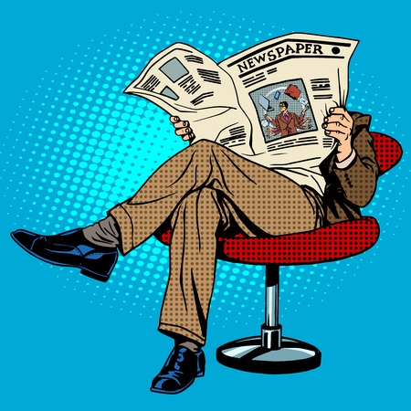 Newspaper reading man pop art retro style Иллюстрация