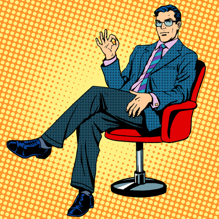 Businessman sitting in an armchair gesture okay pop art retro style