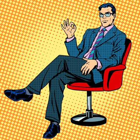 Zakenman zitten in een leunstoel gebaar ok pop art retro-stijl Stock Illustratie