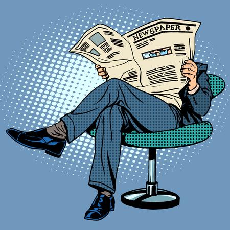 Krant lezen man pop-art retro stijl