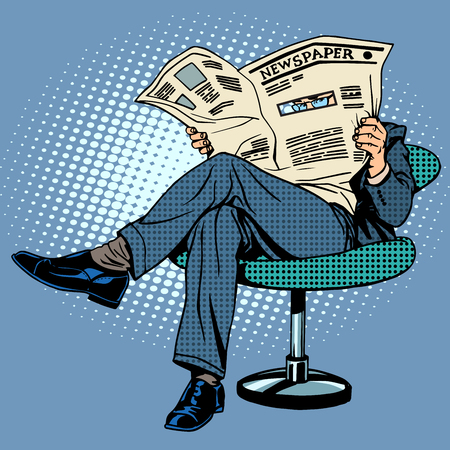 Newspaper reading man pop art retro style 向量圖像