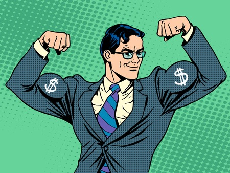 Businessman with muscles currency dollar pop art retro style