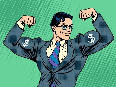 dolar: Hombre de negocios con estilo retro músculos moneda del dólar del arte pop Vectores