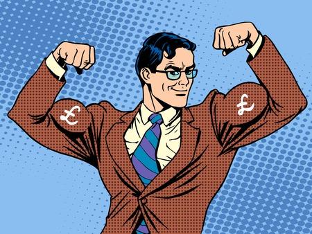 sterlina: Uomo d'affari con valuta muscoli sterlina pop art stile retrò
