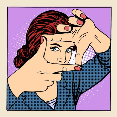 ojo humano: Marco de fotos hermosa mujer gesto operador estilo del arte pop retro Vectores