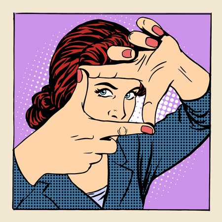 Photo frame beautiful woman gesture operator pop art retro style