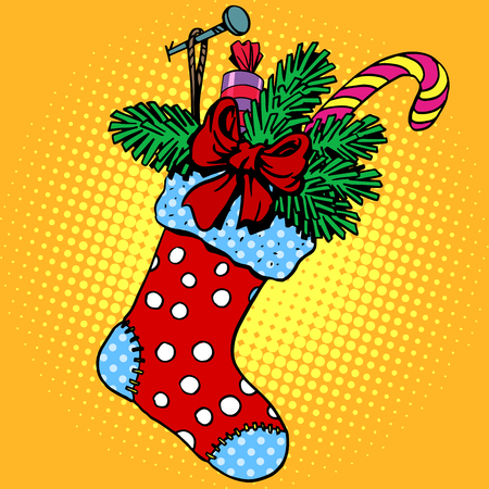 tradition art: Christmas sock for gifts pop art retro style