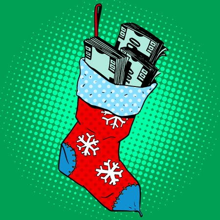 Christmas sock with the money. Annual profit the gift of financial success pop art retro style Illustration
