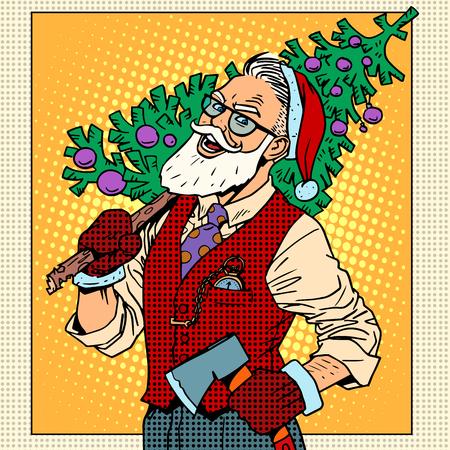 cappelli: Hipster Babbo Natale con l'albero di Natale pop art stile retrò Vettoriali