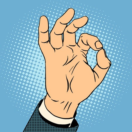 ok: Okay gesture the business concept of quality pop art retro style Illustration