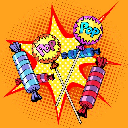 golosinas: Dulces piruletas de caramelo estilo del arte pop retro Vectores