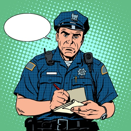 interrogation: angry policeman questions pop art retro style