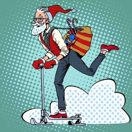 Hipster Santa Claus spreads the Christmas gifts on a scooter sled pop art retro style