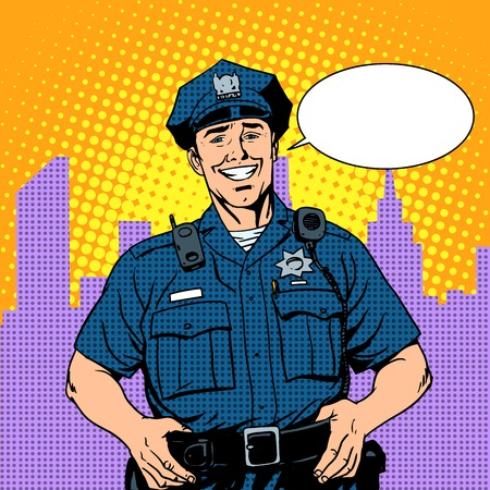 officier de police: bon flic police de style rétro pop art Illustration