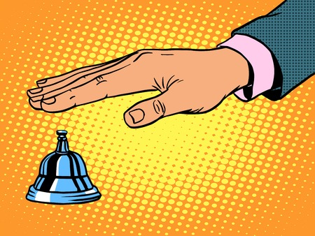 reception desk call bell hand pop art retro style Illustration