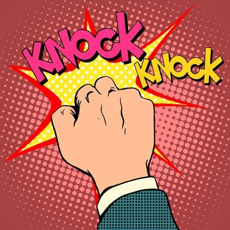 Knock door hand pop art retro style Vectores