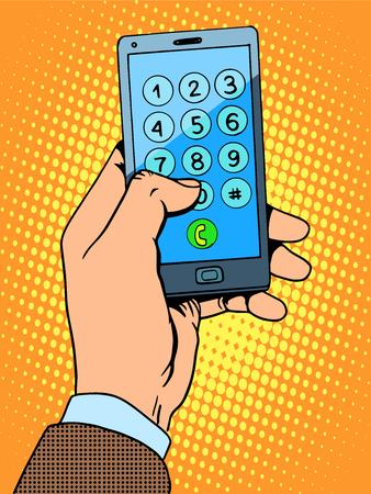 telefono caricatura: Teléfono inteligente de la mano el número de teléfono del arte pop de estilo retro Vectores