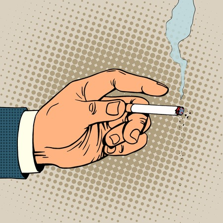 Hand with a smoking cigarette pop art retro style