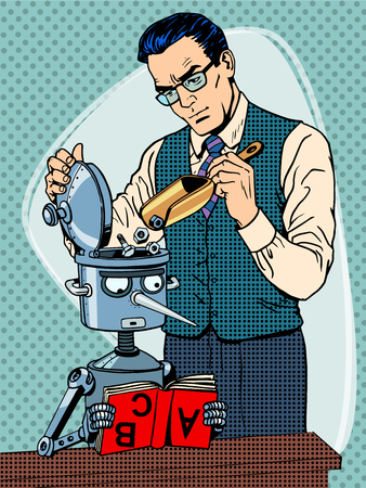 intelligence: Education scientist teacher robot student pop art retro style