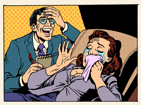 emociones: rasgones relaciones familiares psicólogo risas emociones problemas mentales estilo del arte pop retro Vectores
