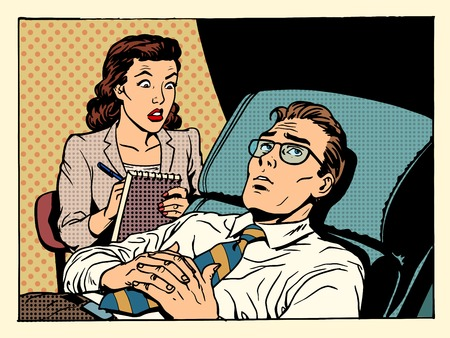 couple on couch: psychologist female patient male sympathy family relationships emotions mental problems pop art retro style
