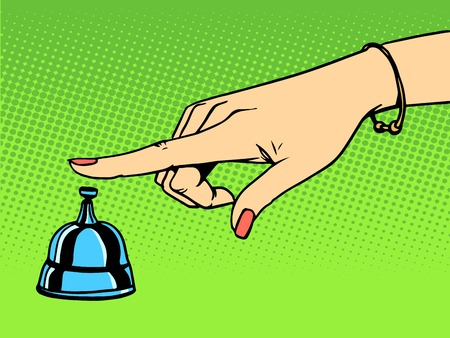 hand bell: Call the Concierge woman hand bell pop art retro style Illustration