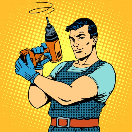 retro man: Repair work with a drill pop art retro style. Male professional homework
