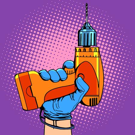 hand work: Drill in hand work repair pop art retro style Illustration