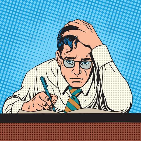 Escritor científico periodista piensa escrituras. Un hombre crecido pluma escribe el texto. Pensando tormentos de trabajo creativos Ilustración de vector