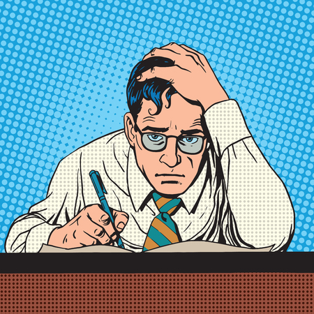 historietas: Escritor científico periodista piensa escrituras. Un hombre crecido pluma escribe el texto. Pensando tormentos de trabajo creativos