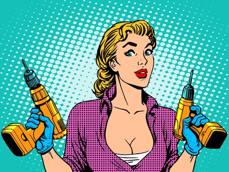Dívka vrták pracovník opravy. Žena z domu prací