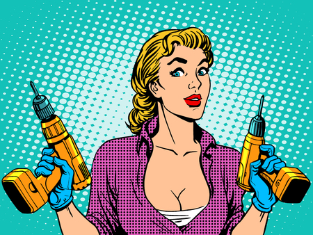 halftone: Girl worker drill repair. The woman of the house works Illustration