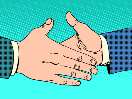 A handshake deal business concept. Friendly greeting. Male hand