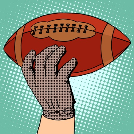 hobbies: The ball of American football in his hand pop art retro style. Sports and Hobbies Illustration