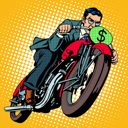 Businessman on a motorcycle. Financial success pop art retro style. The dollar sign instead of the number of transport Vettoriali
