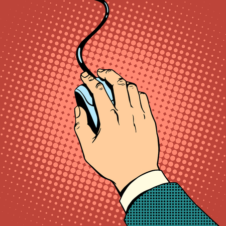 Hand on computer mouse pop art retro style. Work on the computer. The concept of the business office and technology
