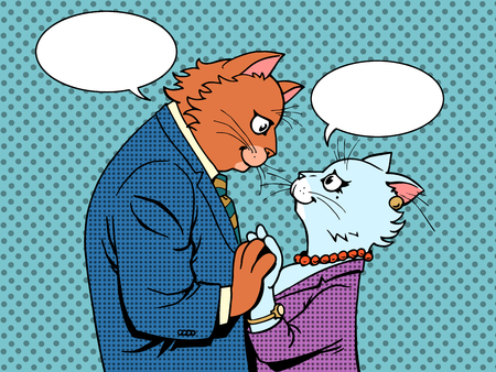 Couple in love cats characters pop art retro style